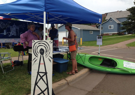 Radio Booth with Kayak at Heritage Days