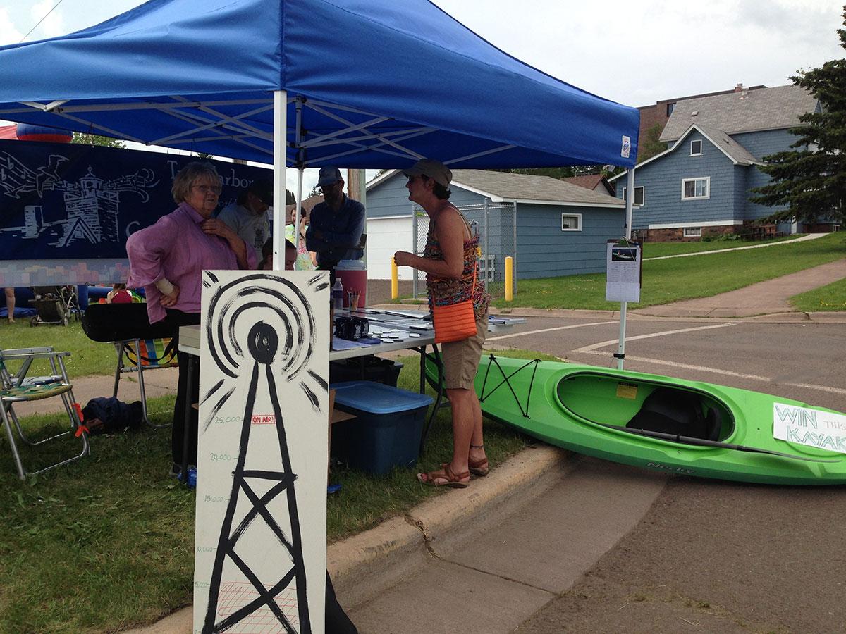 Radio Booth with Kayak at Heritage Days