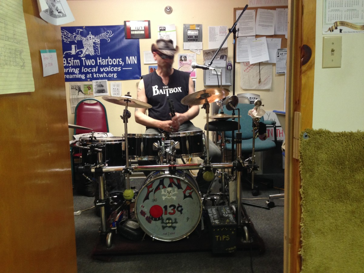 Our first visit by a drum set - and drummer Marty White, on Dave's Beat Farm